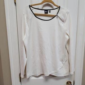 White Zipper neck lightweight sweater